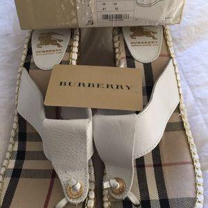 Brand New Burberry espadrille sandals size 10.